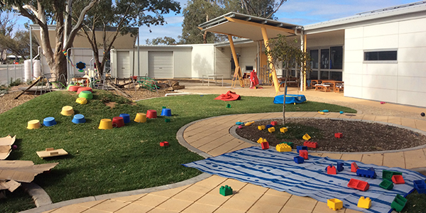 centre grass yard and play area